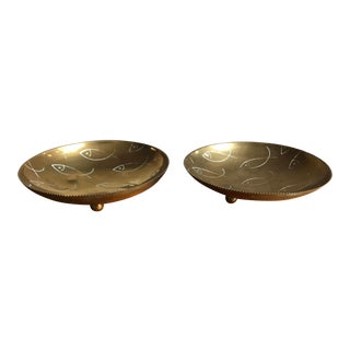 Brass Trinket Trays Engraved Fish Motif, Pair For Sale