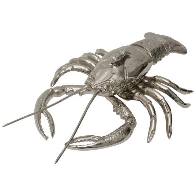 Nickel-Plated Lobster Figure Serving Dish by Angel & Zevallos C. 2018 For Sale