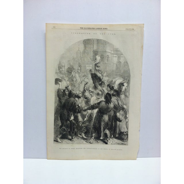 """Mid 19th Century 1856 Antique """"The Emperor of Russia Receiving the Congratulations of the People at Moscow"""" The Illustrated London News Print For Sale - Image 5 of 5"""