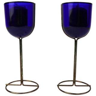 Vintage Cobalt Wine Goblet Candlesticks by Iittala - a Pair For Sale