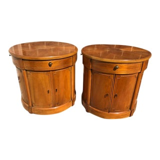 Mid Century Modern Thomasville Drum Side Tables - a Pair