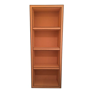 Custom Grasscloth Covered Bookcase W/ Nail Head Detail For Sale