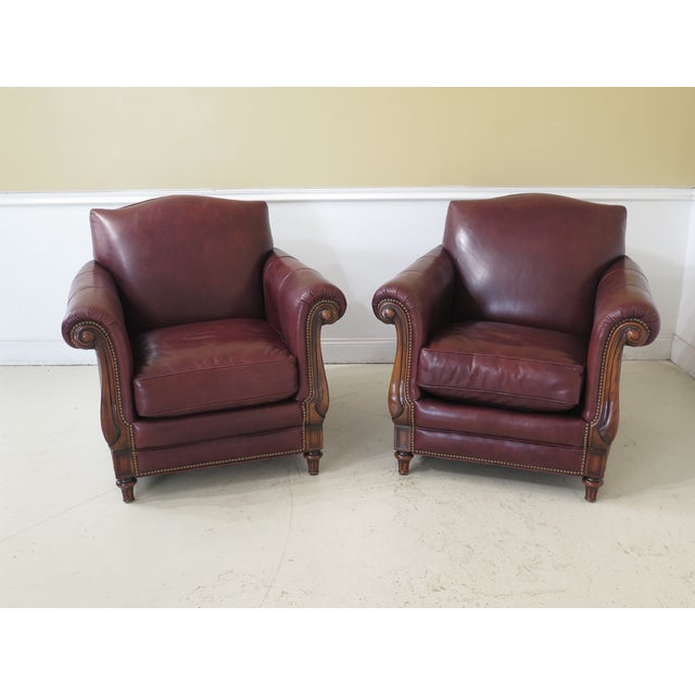 Alexander Taylor Leather & Mahogany Club Chairs- A Pair For Sale - Image 13 of 13