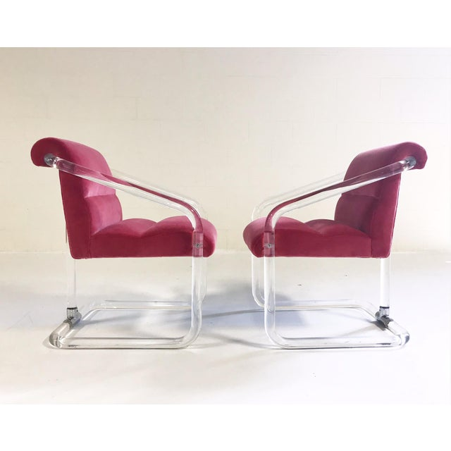Mid-Century Modern Vintage Lion in Frost Lucite Chairs Restored in Loro Piana Pink Velvet With Gucci Pillows - Pair For Sale - Image 3 of 11