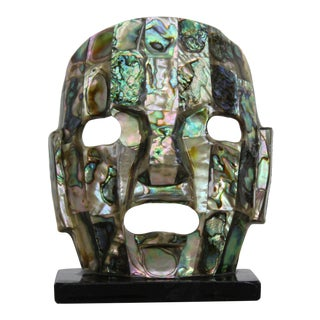 Abalone Inlay Mask Sculpture For Sale