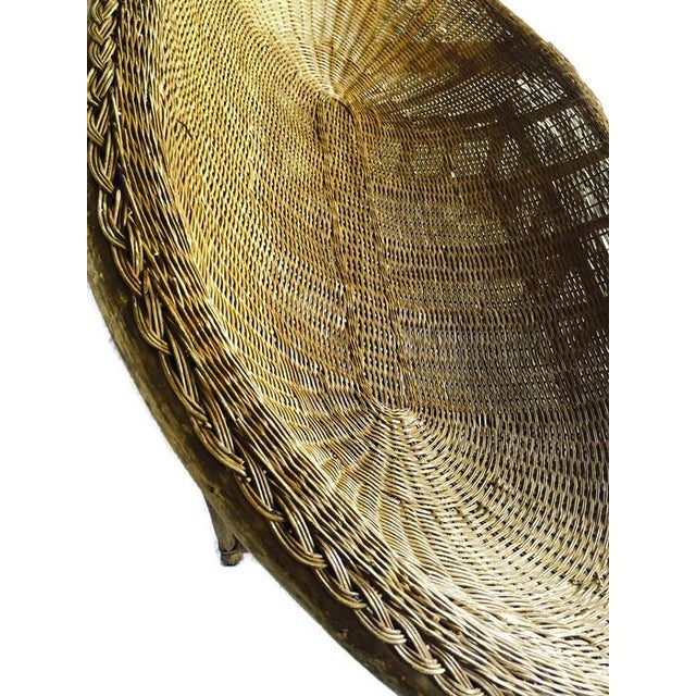 Brown 1970s Vintage Boho Rattan Settee For Sale - Image 8 of 13