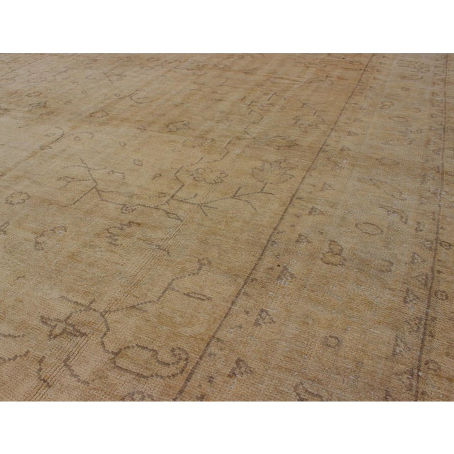 Camel Early 20th Century Antique Turkish Oushak Rug - 9′5″ × 12′10″ For Sale - Image 8 of 9