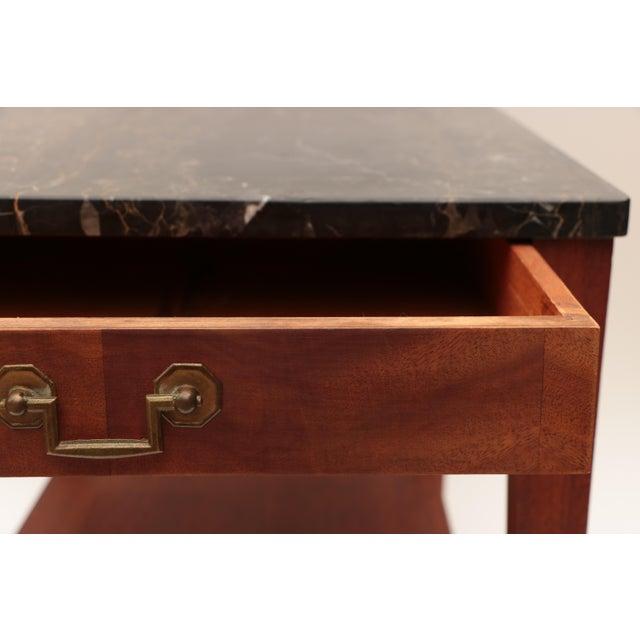 Mahogany Portoro Black Marble and Mahogany SideTable For Sale - Image 7 of 11