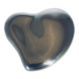 Mid Century Modern Tiffany & Co. Sterling Silver Heart Shaped Box Designed by Elsa Peretti For Sale