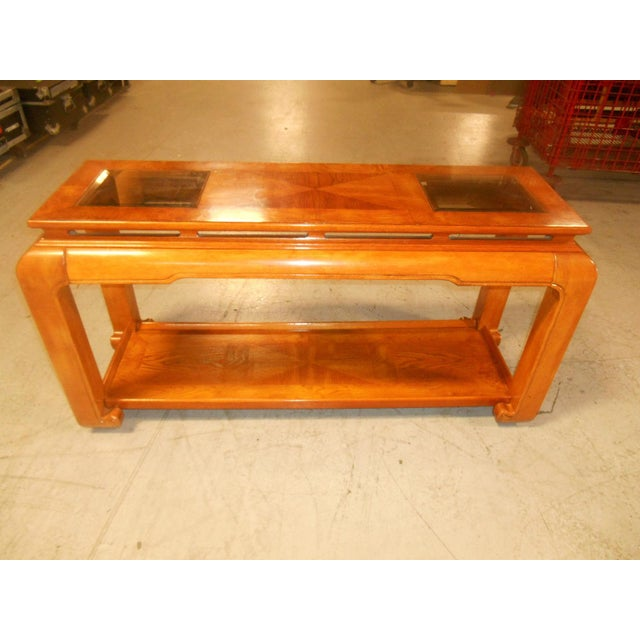 Gorgeous Mid-Century Modern floating-top console with beveled smoke glass inserts. Can be used as a sofa table or foyer...