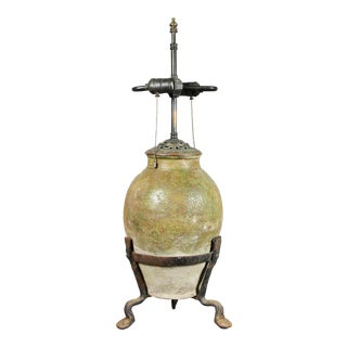 European Pottery And Wrought Iron Table Lamp