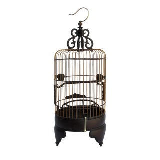 High Quality Handmade Chinese Tan Rosewood Long Round Shape Collectible Birdcage For Sale