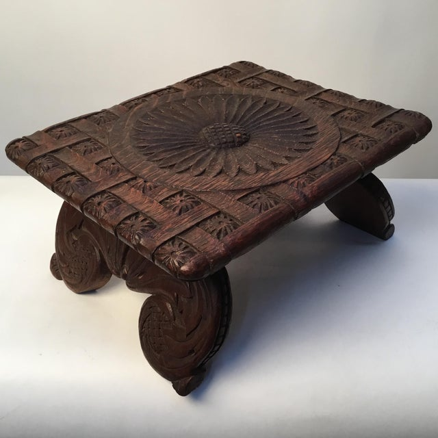1900s Antique English Hand Carved Footstool For Sale - Image 12 of 12