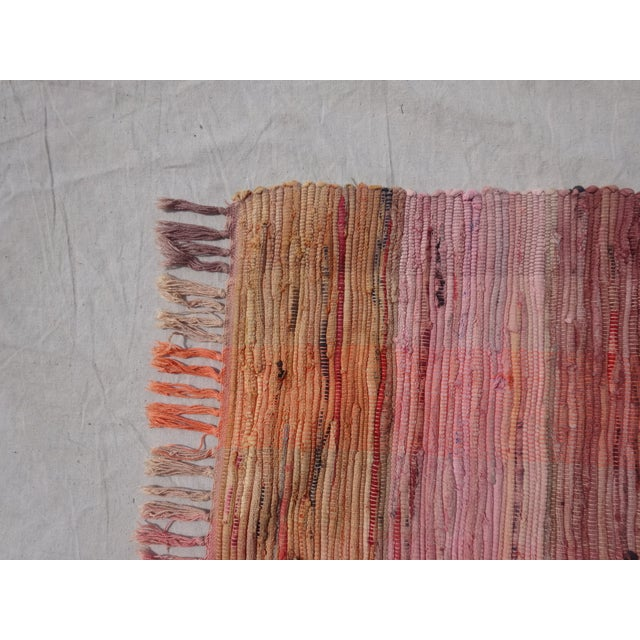Mid-Century Modern Swedish Hand Woven Rag Rug - 1′9″ × 4′8″ For Sale - Image 3 of 3