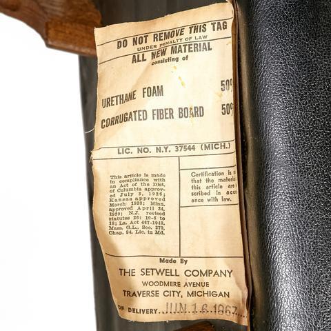 "1960s oak wood and black vinyl men's bedroom valet. Seat, 15""H. Marked: Setwell Co."