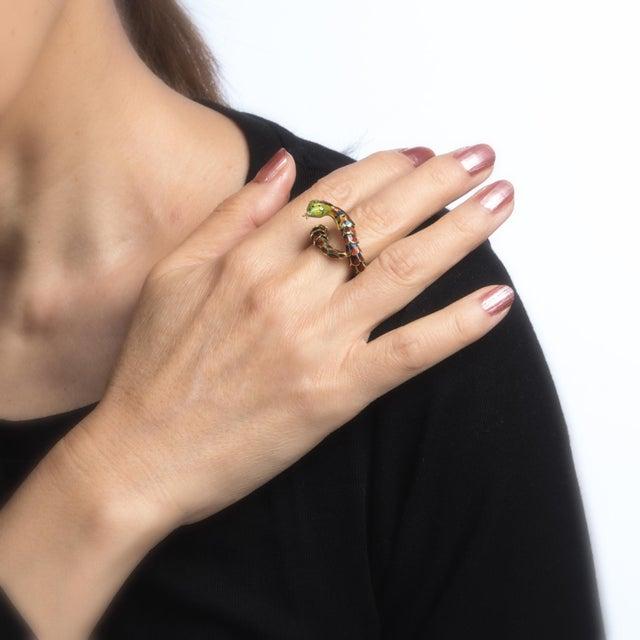 Vintage Snake Ring 18 Karat Gold Enamel Flexible Estate Fine Jewelry Scales For Sale In Los Angeles - Image 6 of 8