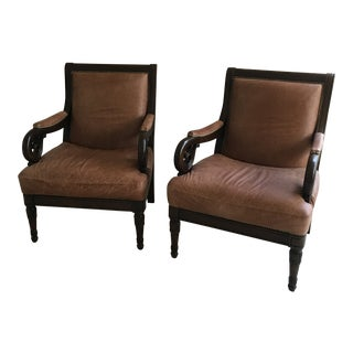 Milk Chocolate Leather With Carved Wooden Arm Chairs - a Pair
