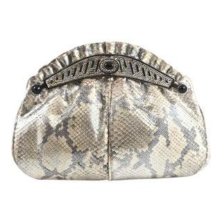 Finesse La Model Metallic Snakeskin Crystallized Clutch For Sale