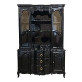 Image of 1970s Vintage Black Lacquer China Cabinet For Sale