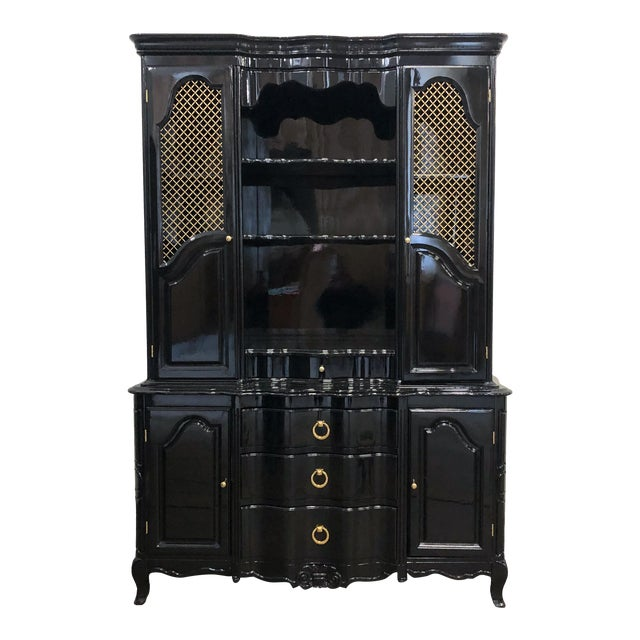 1970s Vintage Black Lacquer China Cabinet For Sale