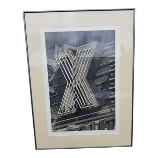 """1980s Robert Cottingham """"X"""" Original Hand Signed / Numbered Lithograph Print For Sale"""