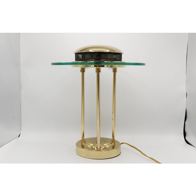 1970s Italian Mid Century Polished Brass and Glass Table Lamp With a Dimmer Switch For Sale - Image 4 of 9