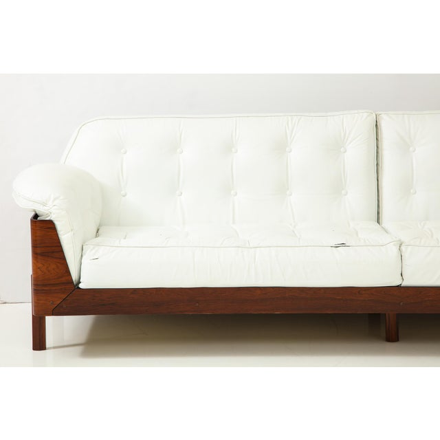 Brazilian Sofa in Jacaranda and White Leather For Sale - Image 11 of 13