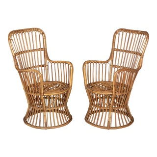 Mid Century French Riviera Rattan Arm Chairs - a Pair For Sale