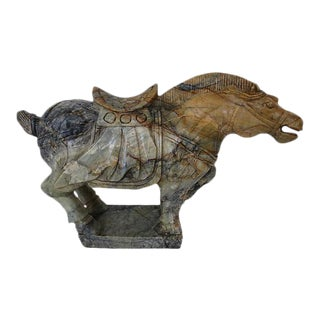 Hand Carved Marble Tang Dynasty Horse Sculpture For Sale