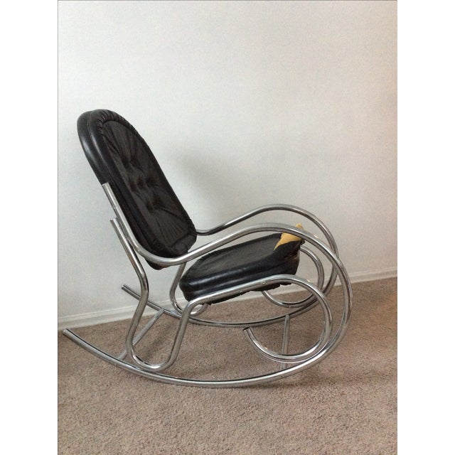 Baughman Style Chrome Rockng Chair - Image 2 of 3