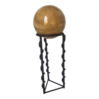 1970s Vintage Marble Sphere on Stand - 2 Pieces For Sale