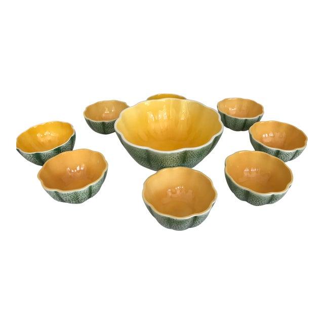 Vintage Knobler Japan Melon Cantaloupe Serving Bowl & 8 Matching Bowls For Sale