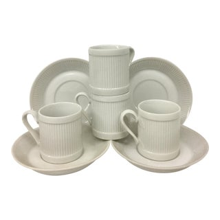 1970s Art Nouveau Japanese 4 Person White Porcelain Tea Set - 8 Piece Set For Sale