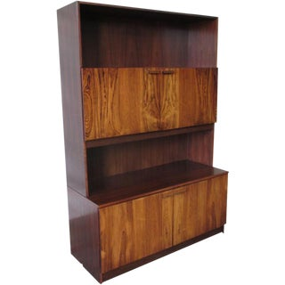 Vintage Mid-Century Modern Rosewood Bookcase Cabinet For Sale