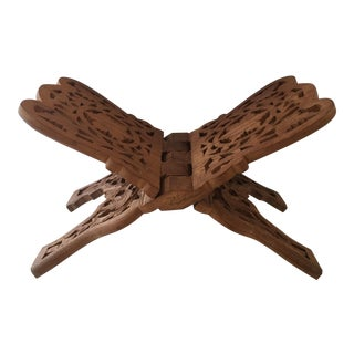 Carved Moroccan Wood Book Stand For Sale