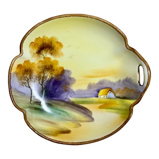 1950s Vintage Nippon Hand-Painted Scenic Catchall Dish For Sale