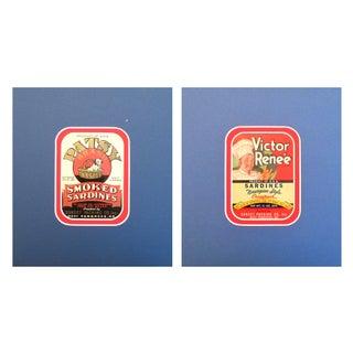 1930s Vintage Puppy/Chef Sardine Labels - A Pair