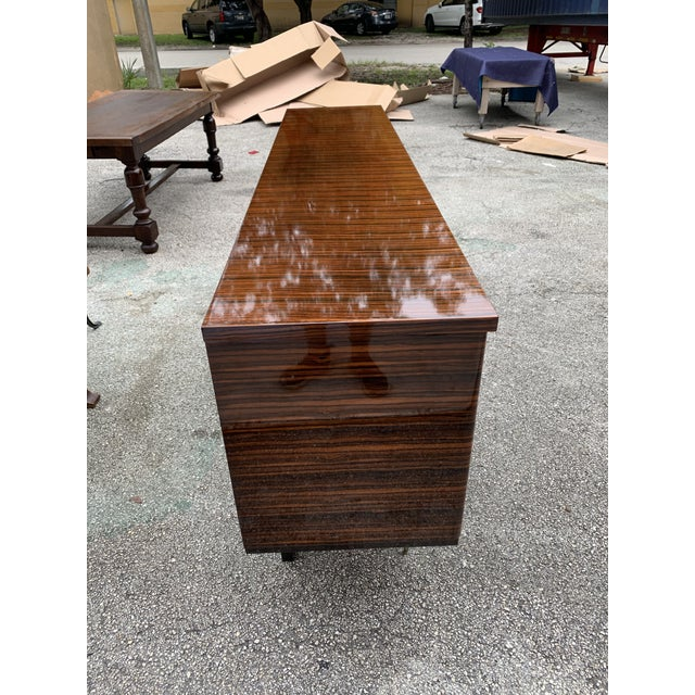 1940s Art Deco Exotic Macassar Ebony Sideboard/Credenza For Sale - Image 9 of 13