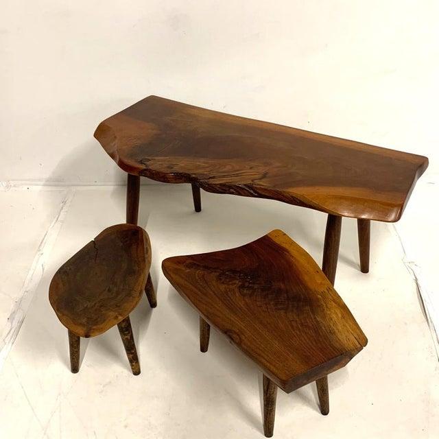 Brown Studio Craft Walnut Live Edge Roy Sheldon Tables Signed - Set of 3 For Sale - Image 8 of 13