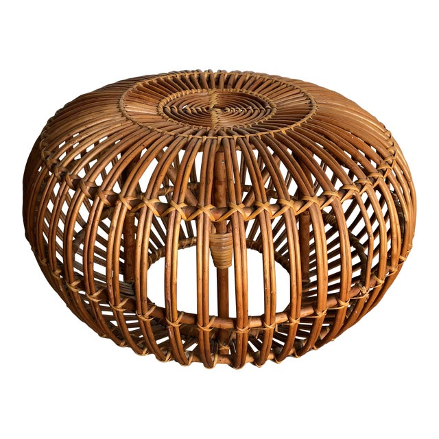 Iconic Vintage Century Woven Rattan Ottoman Designed by Franco Albini. For Sale