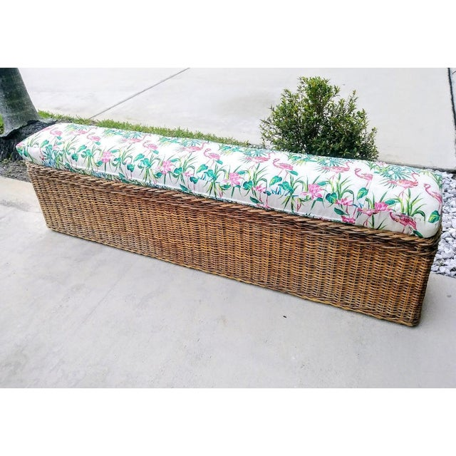 Vintage Wicker Heavy Duty Newly Custom Upholstered Hall End of Bed Bench Seat For Sale - Image 9 of 11