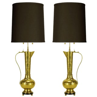 Pair of Large Moroccan Etched Brass Ewer Table Lamps For Sale