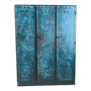 1920's Vintage French Painted Lockers For Sale