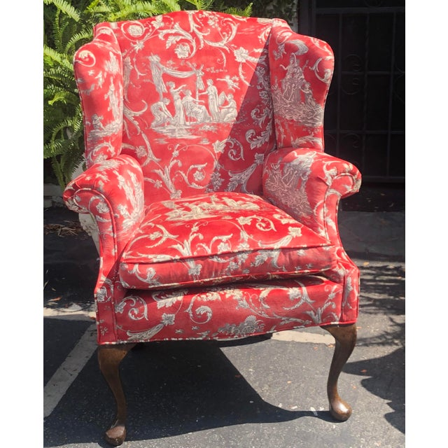Pair of Antique Queen Anne Wingback Arm Chairs W Red Romantic Velvet