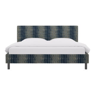 King Tailored Platform Bed in Shibori For Sale