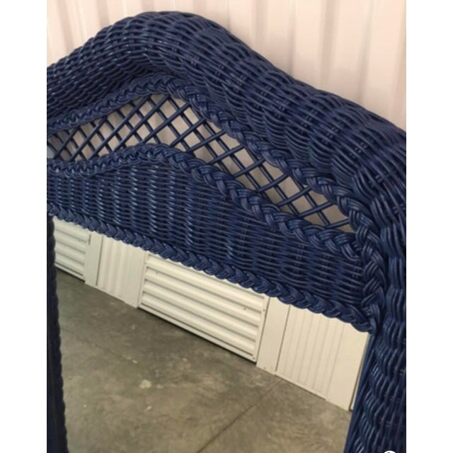 Hollywood Regency Lexington Lacquered Rattan Mirror For Sale - Image 3 of 4