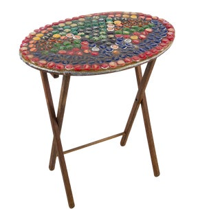 1970s Folk Art Bottle Cap X Frame Side Table