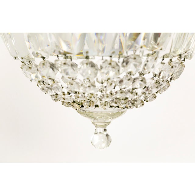 1920s Petite Crystal Basket Chandeliers (Pair) For Sale - Image 5 of 10