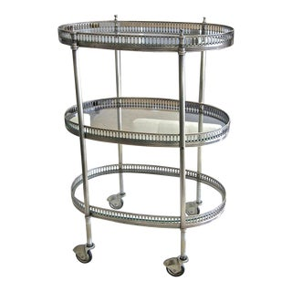 1950's French Oval Silver Plated 3 Tier Bar Cart For Sale