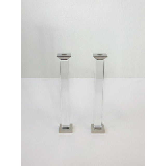 Modern Pair of Lucite and Polish Nickel Candlestick by Charles Hollis Jones For Sale - Image 3 of 7